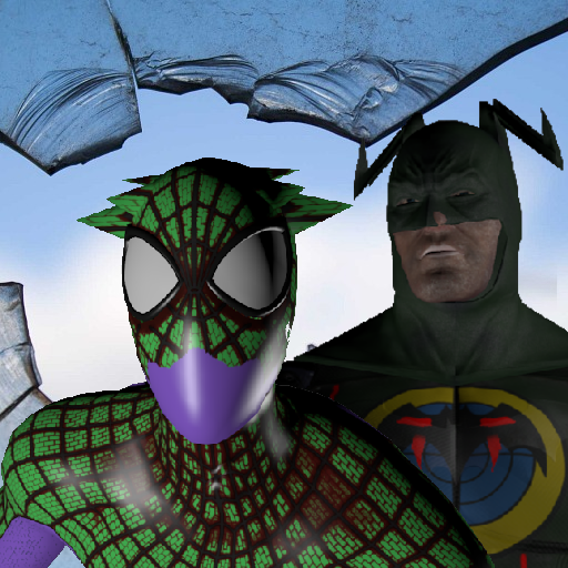 Bat hero vs Spider hero. Duel