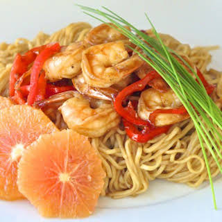 15 Minute Orange Hoisin Shrimp and Noodles.