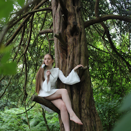 Modern Day Tinkerbell by Kelly Moore - Novices Only Portraits & People ( dress, forest, green, nature, ballet, trees, fairy,  )