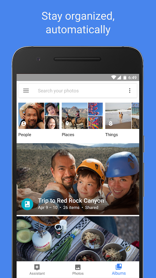 Screenshots of Google Photos for iPhone