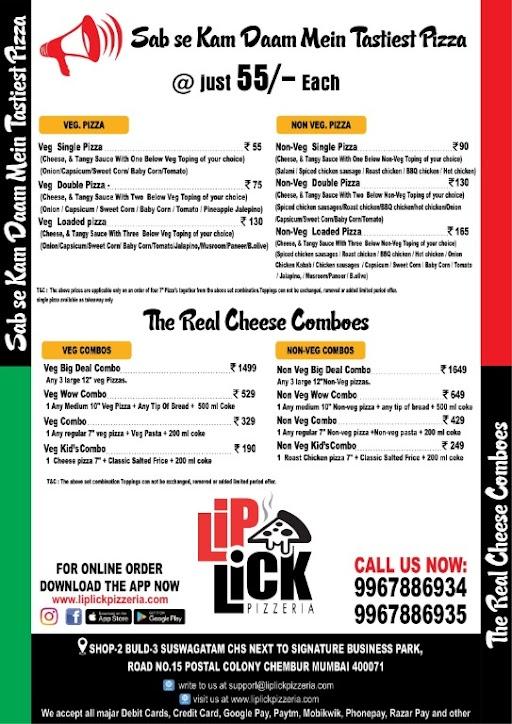 Lip Lick Pizzeria menu 1
