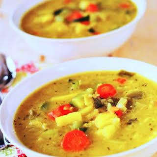 Potato Leek, Carrot and Zucchini Soup (Vegan).