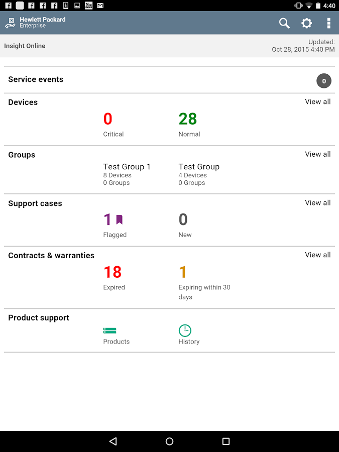 HPE Support Center- screenshot