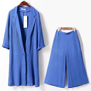 $60一套 Navy Blue 藍色縐褶長薄外套加闊腳裙褲 L size 只有三套 #fashion #fashionable #fashion2016