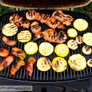 Grilled Korean Chicken Thighs with Squash and Peppers.