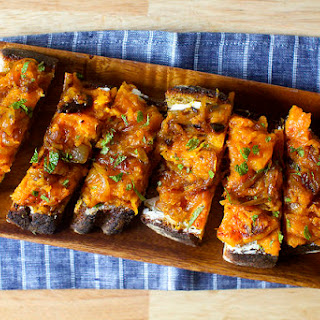 Squash Toasts with Ricotta and Cider Vinegar.