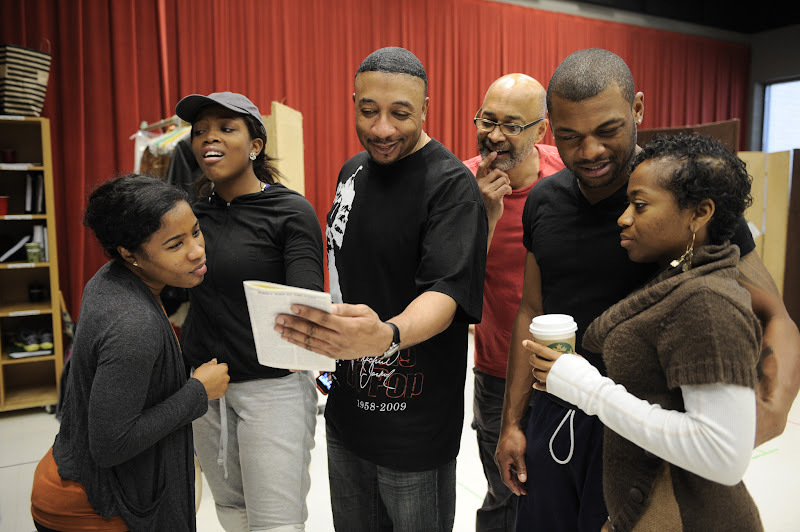 Photo: (Left to Right) Melanie Brezill (Ensemble), Marketta P. Wilder (Yolanda), David Jennings (Preacher), Fred Carl (Music Director), Kelvin Roston (Ensemble) and Alexis Rogers (Jeanette) on rehearsal break for Regina Taylor's 10th anniversary production of Crowns at Goodman Theatre (June 30 – August 5).