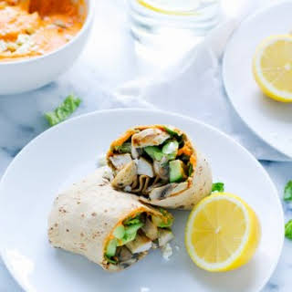 Roasted Red Pepper Hummus Chicken Wrap.