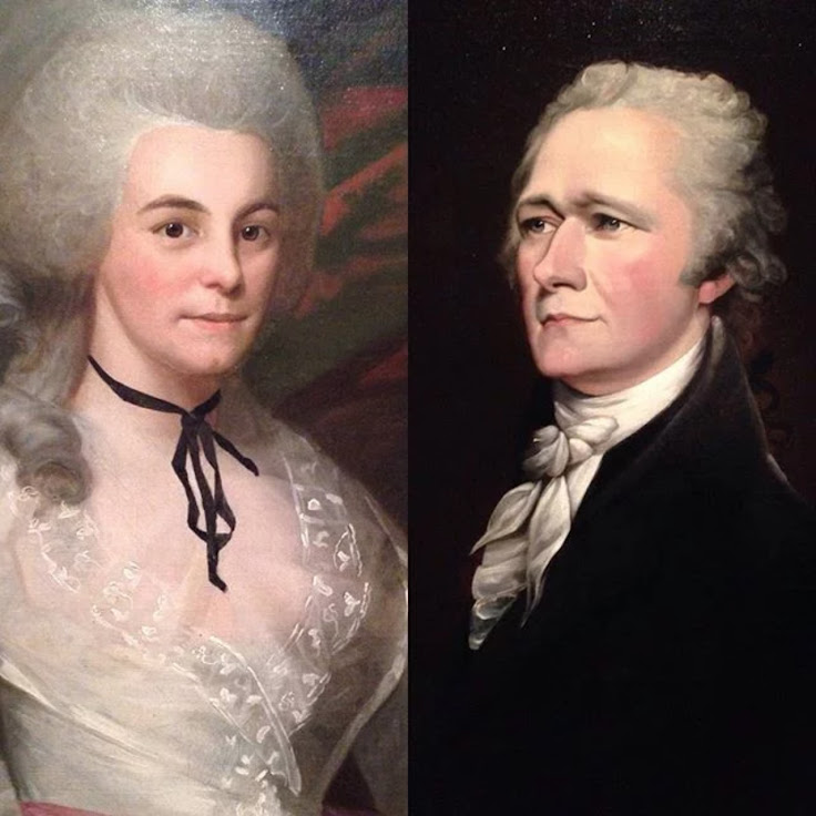 Ralph Earl's 1787 portrait of Eliza Schuyler and John Trumbull's 1805 Alexander Hamilton.