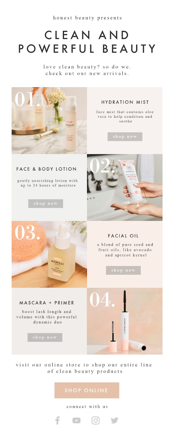 Honest Beauty New Arrivals - Long Email Template