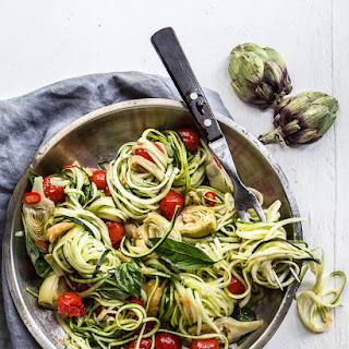 Zoodles Aglio Oglio, Artichoke & Tomato.