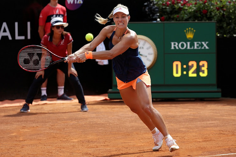 Angelique Kerber of Germany returns a shot to Anett Kontaveit of Estonia at the Rome Open on Wednesday. Picture: REUTERS/Max Rossi