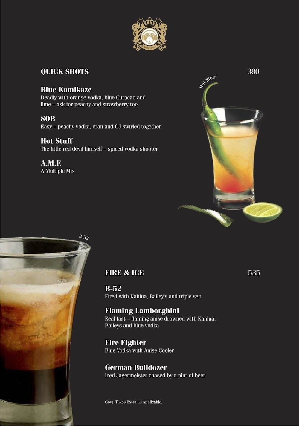 Brass Monkey menu 5