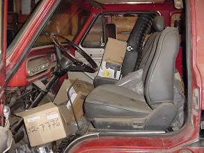 Photo: As stored in Chet's out-building.  the seats are in pretty decent shape and  I'm going to keep them. Notice the car steering wheel.