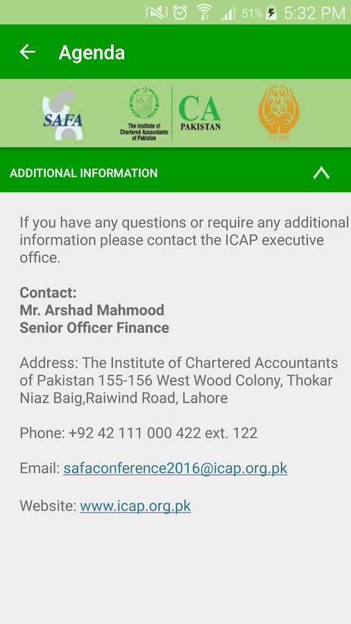 ICAP SAFA Conference 2016- screenshot