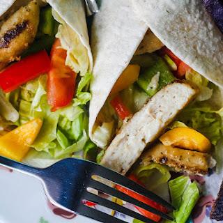 Chicken Caesar Salad Wraps with Purple Chips.