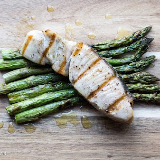 Grilled Opah And Asparagus With Lemon Sauce.