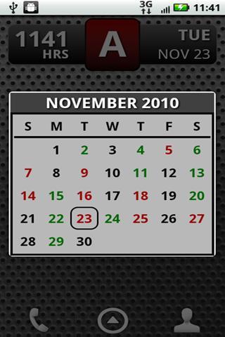 Скриншот FD Shift Calendar Widget