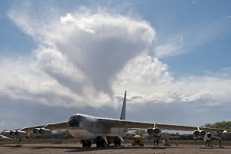 """Photo: B52D with its 56m wingspan in the backyard of the National Museum of Nuclear Science & History, Albuquerque, NM.  I'm wondering about the possible climb rate in the cloud behind, especially with its two """"interesting"""" spikes below.  This photo is for neutral representation of history only and has no symbolic meaning and no further interpretation should be done on the fact it is shown here."""