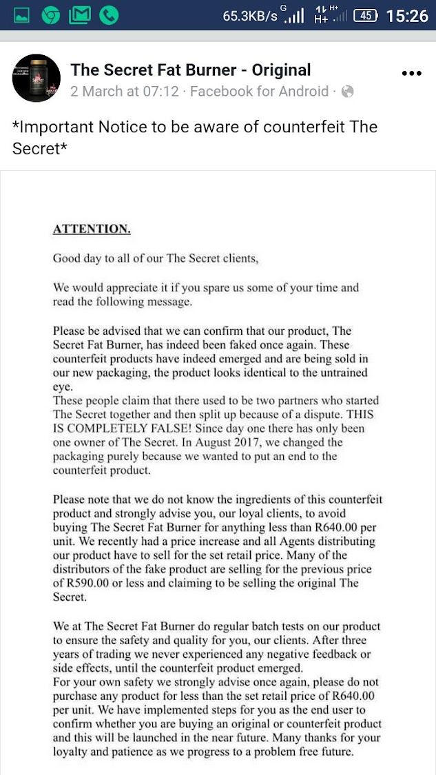 The notice about a