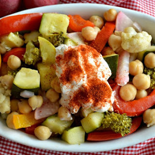 Veggie Crockpot Chickpeas with Paprika Greek Yogurt.