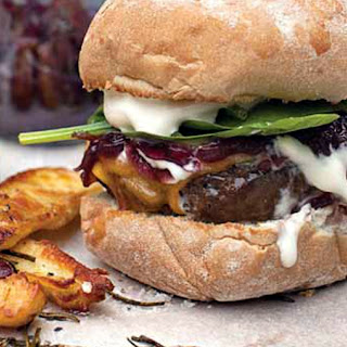 Superburger with Red Onion Marmalade, Cheddar & Sour Cream.