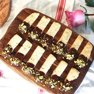 Pistachio Honey Rosewater Shortbread with Dark Chocolate.