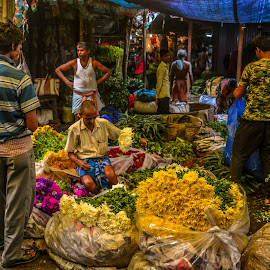 by Sourav Makal - People Street & Candids ( market, street, yellow, people, flower,  )