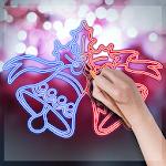 Glowing Christmas Doodles - Color Neon Sketch Icon