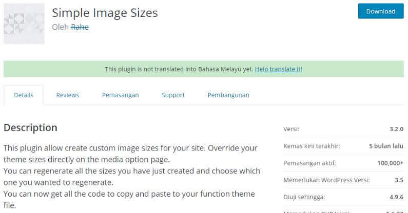 WordPress Plugin Simple Image Size