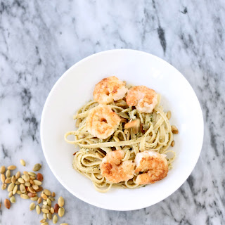 Pumpkin Seed Pesto Pasta with Crispy Shrimp
