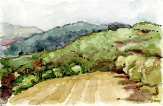 Photo: 2009 View east from Paul Masson winery. Saratoga, CA. Watercolor. Collection of Laura and Dan Douglas.