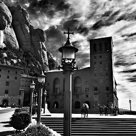 Dark clouds on the mountain by Debra Graham - Black & White Buildings & Architecture ( dark clouds,  )