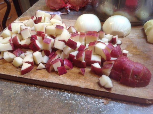 Cube Potatoes, and add to a large pot, cover with water, add 2 teaspoons...