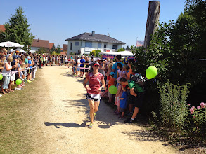 Photo: Despite the crowds and the narrow trails Cindy had a great race!