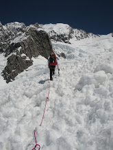 Photo: Through a recent avalanche, up the Linda.