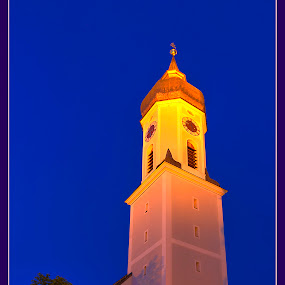 Tower by Elk Baiter - Buildings & Architecture Public & Historical ( bavaria, germany, garmish, clock, twilight, tower )