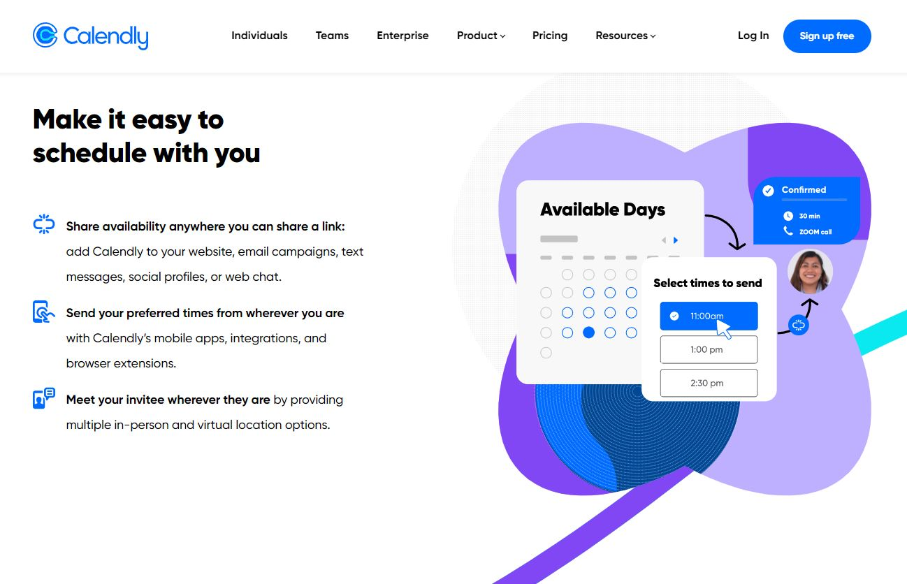 Calendly assists with meeting booking