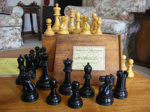 Photo: CH102: Jaques' box/ebony Staunton, weighted, King=3.5in. Not their finest, but a good size/feel to it: I use it a lot for playing - I don't have to feel too precious about it!  For more images of this set, see 'Jaques' album: https://picasaweb.google.com/mtaxcons/Jaques#