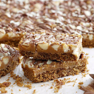 Chocolate Caramel Bars with Mixed Nuts.
