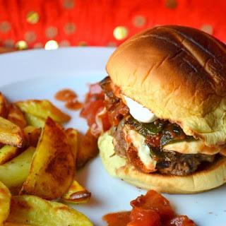 Deconstructed Chile Relleno Mushroom Burger