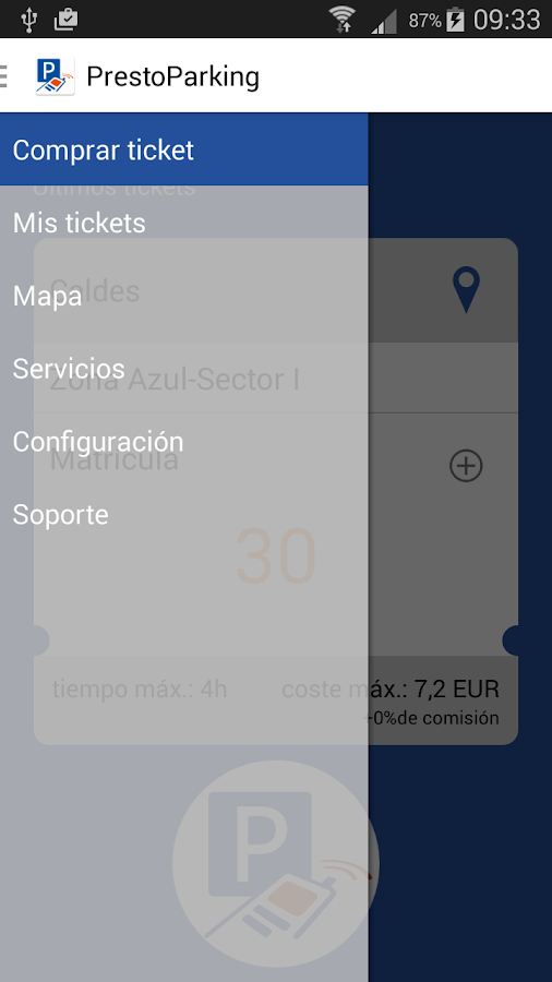 Presto Parking: captura de pantalla