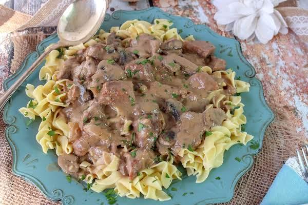 Beef Tips & Gravy Served Over Egg Noodles.