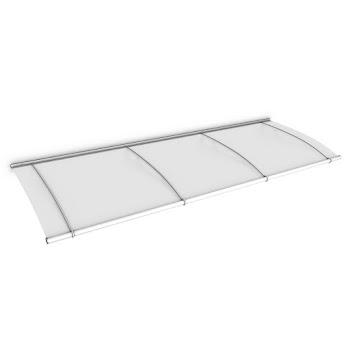 Auvent marquise de porte LT-Line, 270 x 95 cm, verre acrylique transparent ou opaque, fixations acier blanc