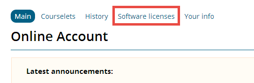 online account with software licenses highlighted