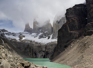 """Photo: Mirador de Las Torres, climax of the """"W"""" trek (or a strenuous day hike from Hosteria Las Torres).  Stitched panorama."""