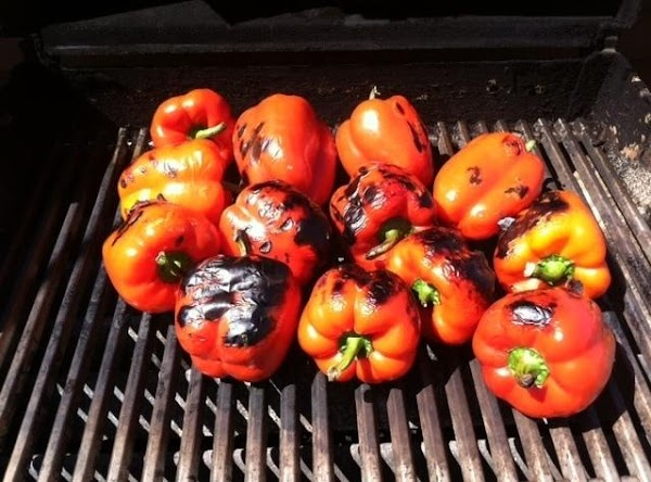 PREHEAT BBQ TO HIGH N CHAR RED PEPPERS TURNN FREQUENTLY TO GET ALL SIDES...