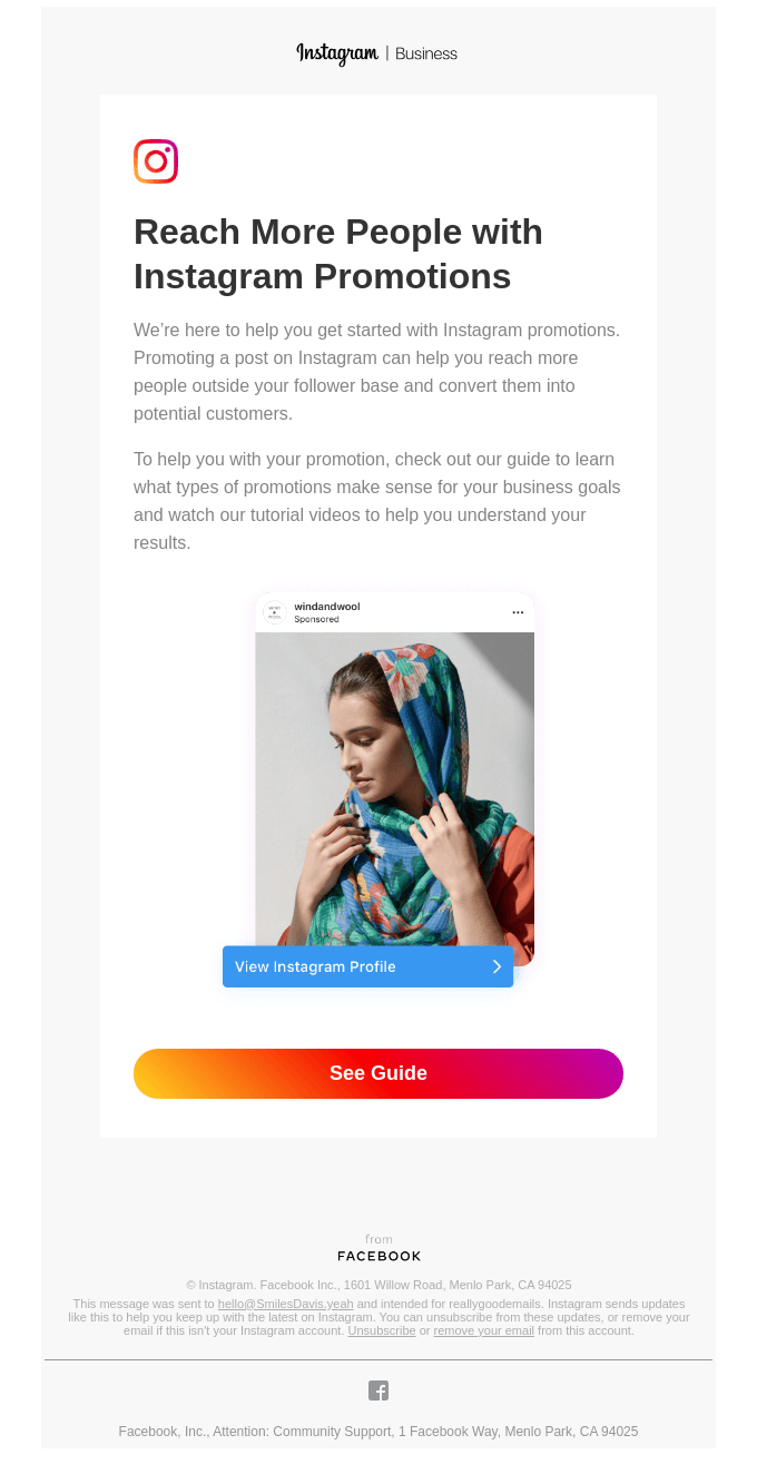 Instagram in email template