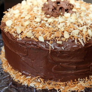 Kona Chocolate Cake with Toasted Coconut and Macadamia Nuts