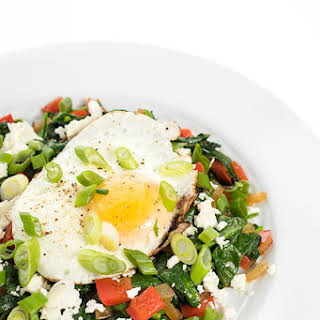 Greek Breakfast Egg Skillet with Sautéed Veggies and Feta.